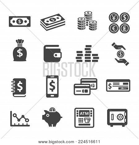 money and finance icon set vector illustration