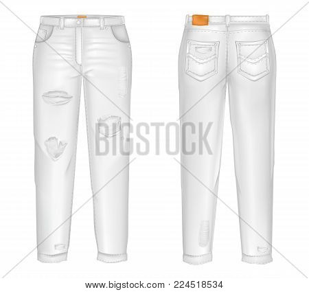 Vector realistic white jeans with rips, gaps. Pair of unisex trousers isolated on white background. Classic casual, modern pants with pockets 3d illustration. Mockup for internet design, promotion