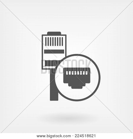 Ethernet cable and port isolated vector icon, network socket icon, ethernet connector icon