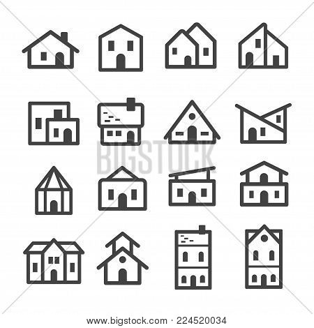 house and home line icon set vector illustration