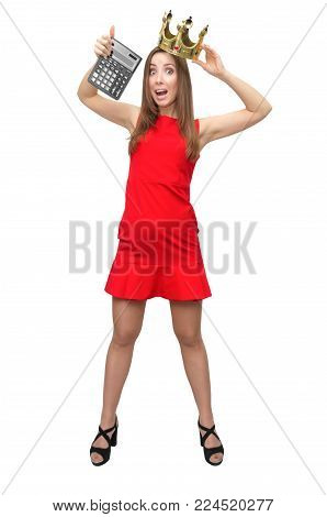 Total sale. Discount final price. Lucky winner girl. Accountant woman in red dress and gold crown on her head shows a tax calculator isolated on white.