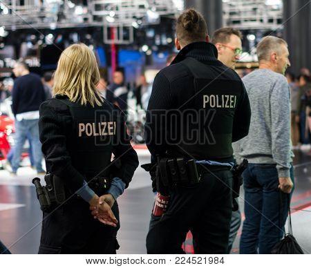 Frankfurt Am Main - September 15 2017: Police Officers Patrolling At International Motor Show On Sep