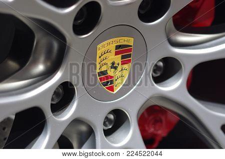 Frankfurt Am Main - September 15 2017: Logo Of Porsche On Wheel - In Display At International Motor