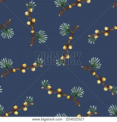 Seamless pattern illustration with pine branches and cones will be good for decor a postcard, posters, gift wrapping, gift boxes, fabric and etc.