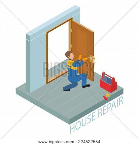 Isometric interior repairs concept. The worker dressed in a blue overalls installs a door knob. Repairer in uniform holds a screwdriver. Builder squats at the door leaf and fixes a door handle. Vector