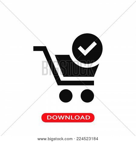 Shopping cart verified symbol icon vector in modern flat style for web, graphic and mobile design. Shopping cart verified symbol icon vector isolated on white background. Shopping cart verified symbol icon vector illustration, editable stroke and EPS10. S