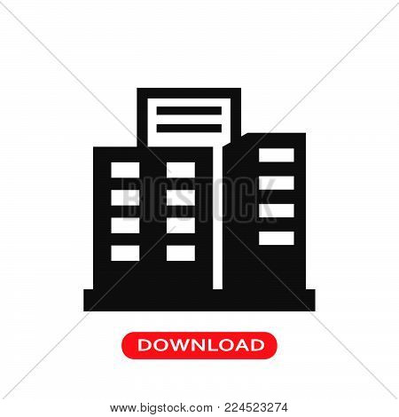 Building icon vector in modern flat style for web, graphic and mobile design. Building icon vector isolated on white background. Building icon vector illustration, editable stroke and EPS10. Building icon vector simple symbol for app, logo, UI.