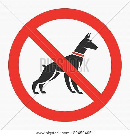Information sign design for security and awareness services business or purposes with the doberman silhouette in the regret circle. Vector, flat design.