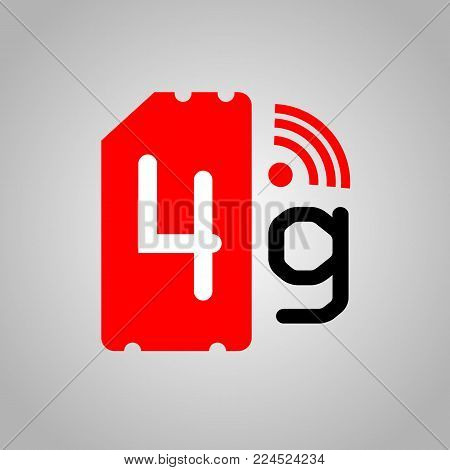 4G Sim Card. Mobile telecommunications technology symbol. Speed data downloading cycle