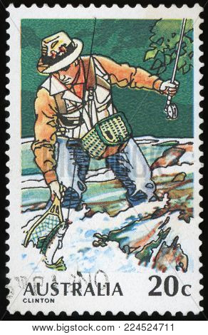 AUSTRALIA - CIRCA 1979:A Cancelled postage stamp from Australia illustrating Fishing in Australia, issued in 1979.