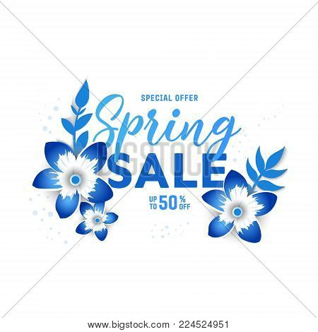 Paper art of  Spring  origami sale banner  concept. 50 percent discount