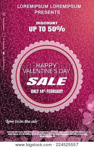 Vector Valentine's Day sale poster with round label, gradient pink background, floral pattern.