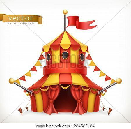 Circus tent on white background. 3d vector icon