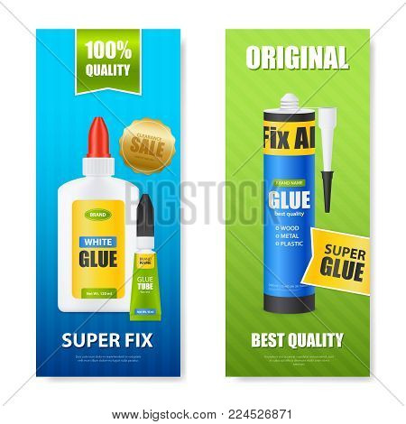 Best quality fix all glue bottles tubes sticks 2 colorful realistic vertical banners set isolated vector illustration