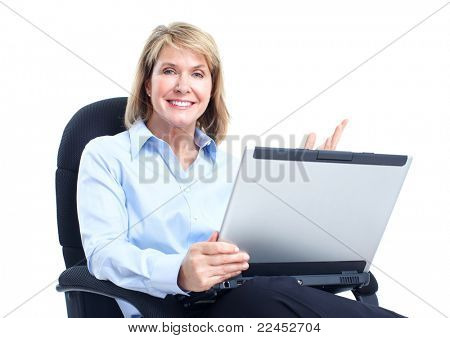 Smiling business woman with laptop. Isolated over white background