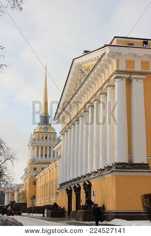 Admiralty Building and Tower with Spire in Saint-Petersburg, Russia. Was Completed in 1823 by Architect Zakharov, in the High Classical Style of Russian Empire. Famous City Symbol and Landmark.