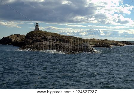 Pond Island Lighthouse, taken from the water.  Nobody knows how the lighthouse got its name.  There is no pond. Located Fort Popham, Phippsburg ME