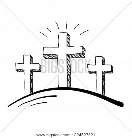 Easter three crosses crucifixion hill doodle vector