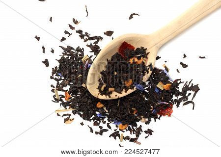 Aromatic Black Dry Tea With Petals In Wooden Spoon Isolated On White Background
