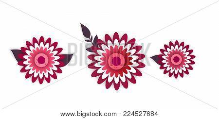 Paper art of decor flowers. Spring paper cut     vector