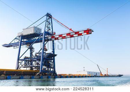 Gantry cranes in Port of Burgas, Black Sea coast, Bulgaria
