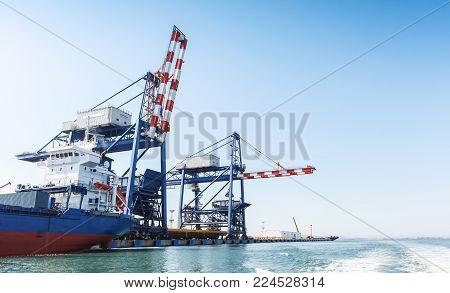 Gantry cranes for bulk carriers loading. Port of Burgas, Black Sea, Bulgaria