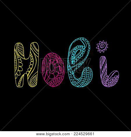Festive card for the holiday of color. Bright color word Holi. Ethnic bohemian background. Vintage decorative element.Indian motifs. Vector hand drawn letters Holi. Doodle creative design lettering.