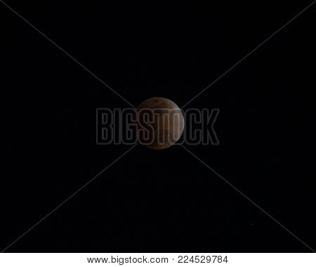'Super Blue Blood Moon' Eclipse, 31 January 2018 Japan.  Total lunar eclipse during a blue moon and a supermoon.