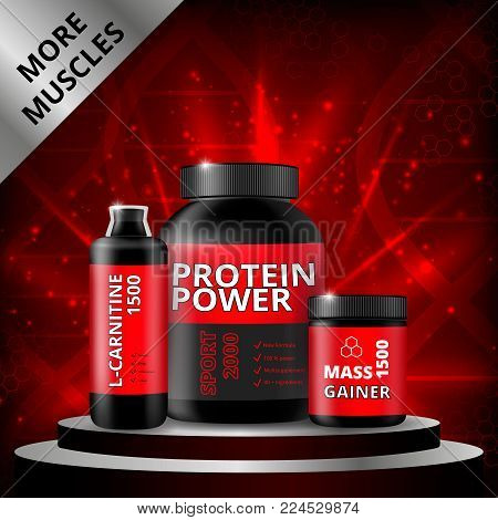 Sports nutrition realistic composition with products in black packaging on pedestal on red sparkling background vector illustration