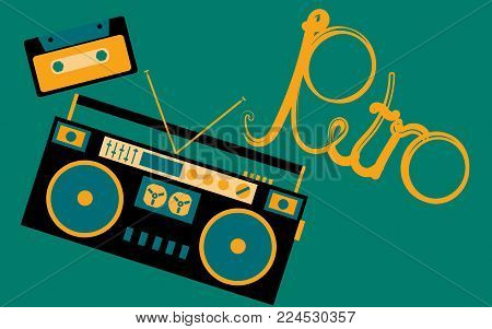 Old, vintage, retro, hipster, antique, cassette audio tape recorder and audio cassette from the 80's, 90's with an inscription retro on a dark green background. Vector illustration.