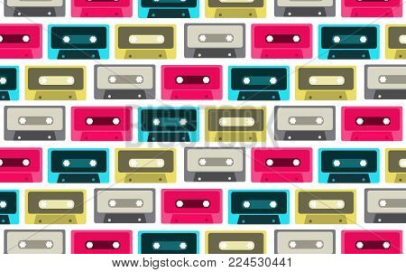 The pattern is seamless from old, vintage, retro, hipster, antique, colorful, bright, motley, blue, pink, gray, yellow audio cassettes from the 80's, 90's on a white background. Vector illustration.