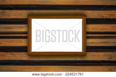 frame, the painting on a wooden background
