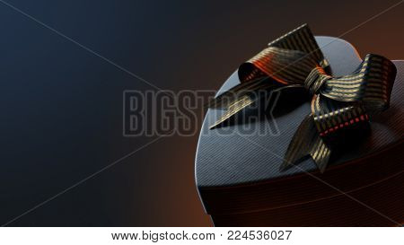Closeup of black heart shaped gift box with golden bow, on black background. 3D render