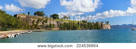 The panoramic view of fort Saint Louis, Martinique island , French West Indies.