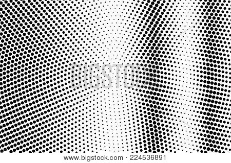 Black and white dotted gradient. Contrast half tone vector background. Striped dotted halftone. Monochrome retro texture. Black ink dot on transparent backdrop. Pop art dotwork. Abstract backdrop