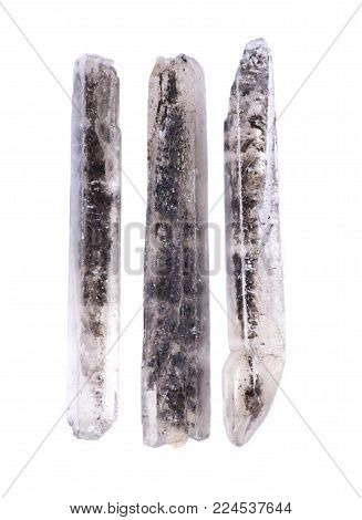 Black Selenite Natural Wands From Australia, Isolated On White Background