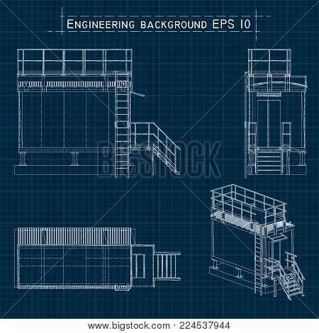 Blueprint Engineering Background. Building Floor Plan, Axonometric View. Vector Eps10.