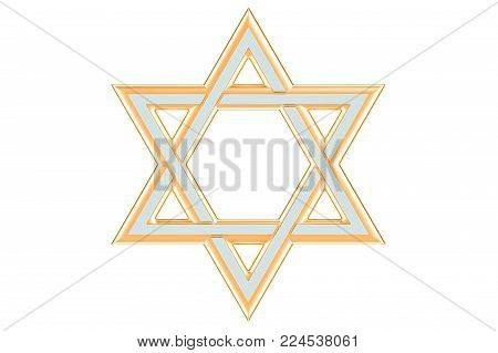 Star of David, 3D rendering isolated on white background