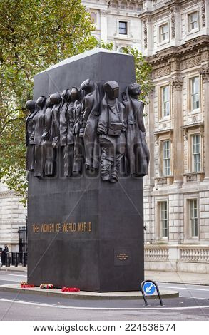LONDON, UK - OCT 28, 2012: British national war memorial The Monument to the Women of World War II on Whitehall by John W. Mills