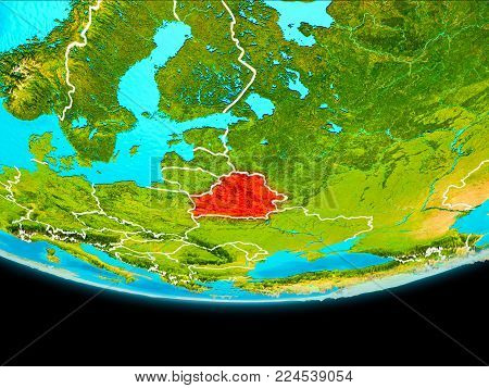 Satellite View Of Belarus