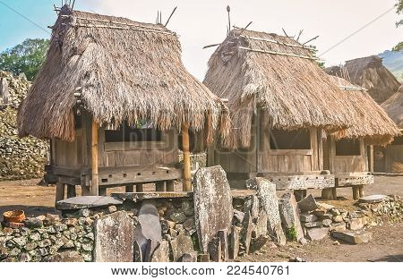 Small old wooden huts in the traditional indonesian village Bena on Flores island, Indonesia - UNESCO Heritage list