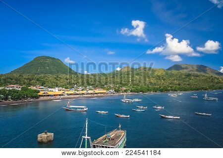 Boats in the bay of Labuhan Bajo - fishing town located at the western end of Flores in the Nusa Tenggara region of east Indonesia