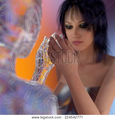 woman gets to know a robot, 3d illustration