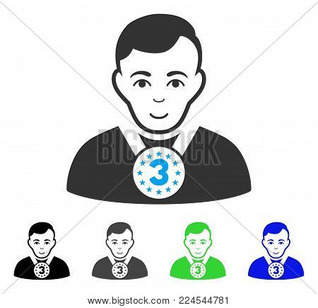 Joy 3rd Prizer Sportsman vector pictograph. Vector illustration style is a flat iconic 3rd prizer sportsman symbol with grey, black, blue, green color versions. Human face has happiness feeling.
