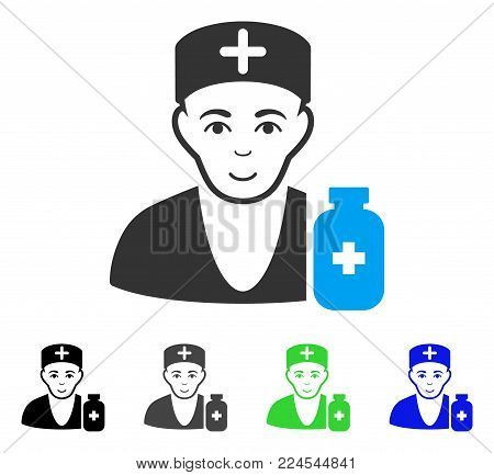 Smiling Apothecary Doctor vector icon. Vector illustration style is a flat iconic apothecary doctor symbol with gray, black, blue, green color versions. Human face has cheerful mood.