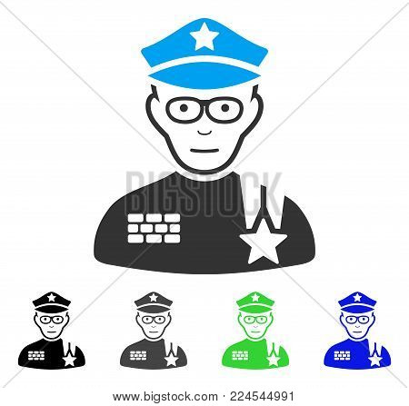 Joy Army General vector icon. Vector illustration style is a flat iconic army general symbol with grey, black, blue, green color variants. Person face has happy mood.