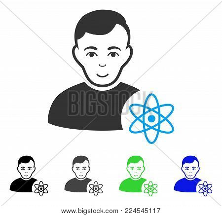 Smiling Atomic Scientist vector pictogram. Vector illustration style is a flat iconic atomic scientist symbol with grey, black, blue, green color variants. Human face has enjoy expression.