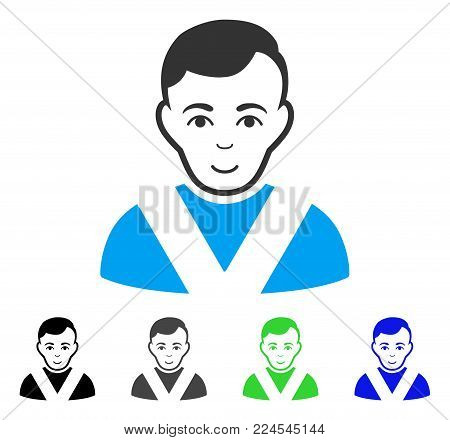 Glad Awarded Man vector pictograph. Vector illustration style is a flat iconic awarded man symbol with grey, black, blue, green color variants. Human face has smiling sentiment.