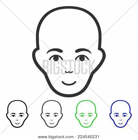 Enjoy Bald Head vector pictograph. Vector illustration style is a flat iconic bald head symbol with grey, black, blue, green color variants. Person face has enjoy feeling.