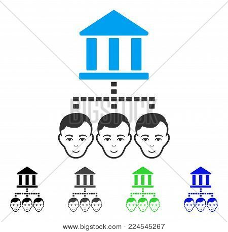 Joyful Bank Clients vector icon. Vector illustration style is a flat iconic bank clients symbol with gray, black, blue, green color versions. Human face has smiling emotions.